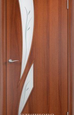 Дверное полотно остекленное, с фьюзингом С-2 (ф) Итальянский орех 2000х700